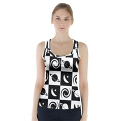 Space Month Saturnus Planet Star Hole Black White Racer Back Sports Top