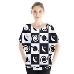 Space Month Saturnus Planet Star Hole Black White Blouse