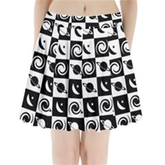 Space Month Saturnus Planet Star Hole Black White Pleated Mini Skirt