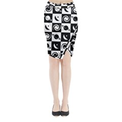 Space Month Saturnus Planet Star Hole Black White Midi Wrap Pencil Skirt