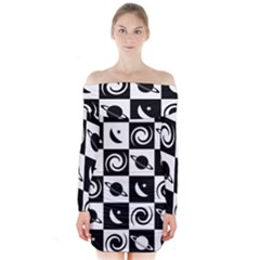 Space Month Saturnus Planet Star Hole Black White Long Sleeve Off Shoulder Dress