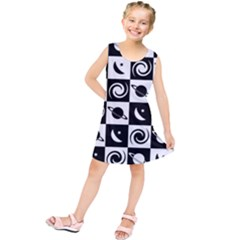 Space Month Saturnus Planet Star Hole Black White Kids  Tunic Dress