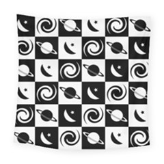 Space Month Saturnus Planet Star Hole Black White Square Tapestry (Large)