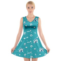 Space Astronaut V-Neck Sleeveless Skater Dress