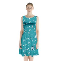 Space Astronaut Sleeveless Chiffon Waist Tie Dress