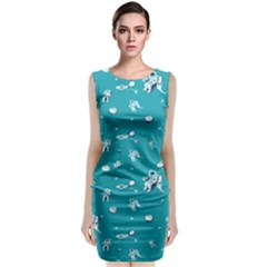 Space Astronaut Sleeveless Velvet Midi Dress