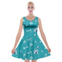 Space Astronaut Velvet Skater Dress
