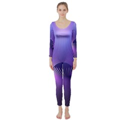 Space Galaxy Purple Blue Line Long Sleeve Catsuit