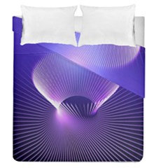 Space Galaxy Purple Blue Line Duvet Cover Double Side (Queen Size)