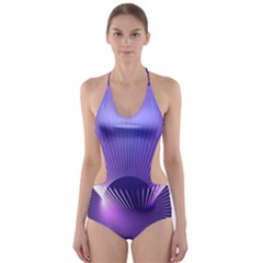 Space Galaxy Purple Blue Line Cut-Out One Piece Swimsuit