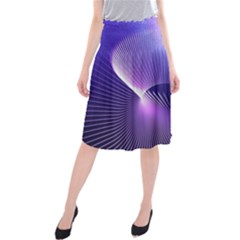 Space Galaxy Purple Blue Line Midi Beach Skirt
