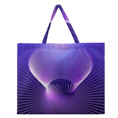Space Galaxy Purple Blue Line Zipper Large Tote Bag