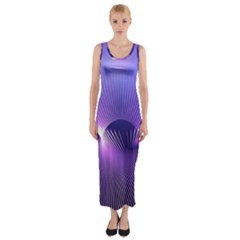 Space Galaxy Purple Blue Line Fitted Maxi Dress