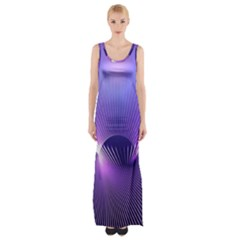 Space Galaxy Purple Blue Line Maxi Thigh Split Dress