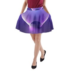 Space Galaxy Purple Blue Line A-Line Pocket Skirt