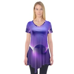 Space Galaxy Purple Blue Line Short Sleeve Tunic
