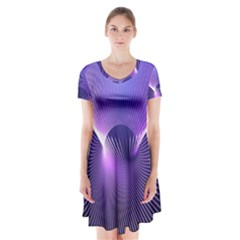 Space Galaxy Purple Blue Line Short Sleeve V-neck Flare Dress