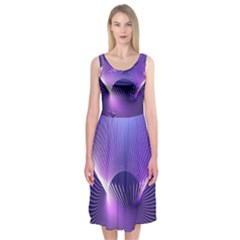 Space Galaxy Purple Blue Line Midi Sleeveless Dress