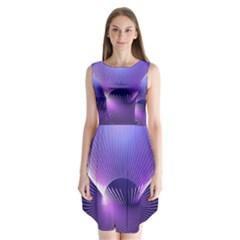 Space Galaxy Purple Blue Line Sleeveless Chiffon Dress