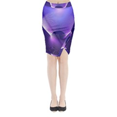 Space Galaxy Purple Blue Line Midi Wrap Pencil Skirt