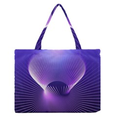 Space Galaxy Purple Blue Line Medium Zipper Tote Bag