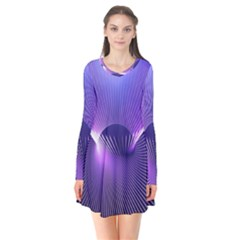 Space Galaxy Purple Blue Line Flare Dress