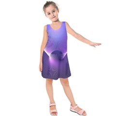 Space Galaxy Purple Blue Line Kids  Sleeveless Dress