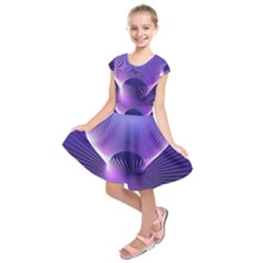 Space Galaxy Purple Blue Line Kids  Short Sleeve Dress