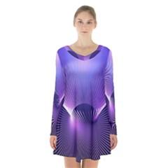 Space Galaxy Purple Blue Line Long Sleeve Velvet V-neck Dress