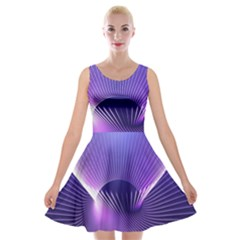 Space Galaxy Purple Blue Line Velvet Skater Dress