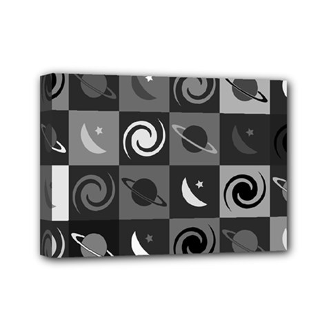 Space Month Saturnus Planet Star Hole Black White Grey Mini Canvas 7  X 5