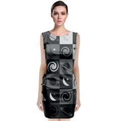 Space Month Saturnus Planet Star Hole Black White Grey Classic Sleeveless Midi Dress