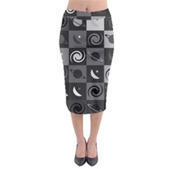 Space Month Saturnus Planet Star Hole Black White Grey Midi Pencil Skirt
