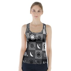 Space Month Saturnus Planet Star Hole Black White Grey Racer Back Sports Top