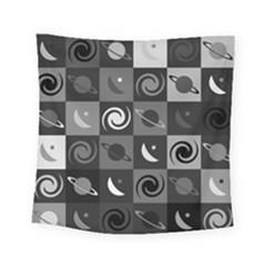 Space Month Saturnus Planet Star Hole Black White Grey Square Tapestry (small)