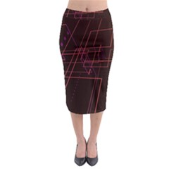 Space Path Line Midi Pencil Skirt