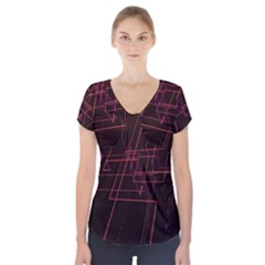 Space Path Line Short Sleeve Front Detail Top