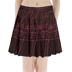 Space Path Line Pleated Mini Skirt