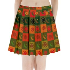 Space Month Saturnus Planet Star Hole Black White Multicolour Orange Pleated Mini Skirt