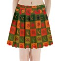 Space Month Saturnus Planet Star Hole Black White Multicolour Orange Pleated Mini Skirt View1