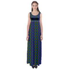 Split Diamond Blue Green Woven Fabric Empire Waist Maxi Dress