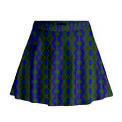 Split Diamond Blue Green Woven Fabric Mini Flare Skirt