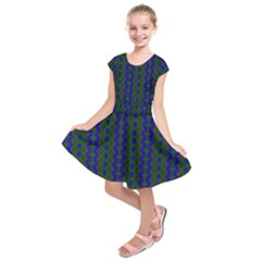 Split Diamond Blue Green Woven Fabric Kids  Short Sleeve Dress