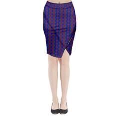 Split Diamond Blue Purple Woven Fabric Midi Wrap Pencil Skirt