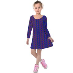 Split Diamond Blue Purple Woven Fabric Kids  Long Sleeve Velvet Dress