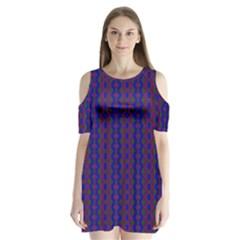 Split Diamond Blue Purple Woven Fabric Shoulder Cutout Velvet  One Piece