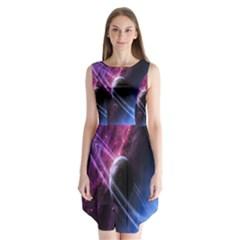 Space Pelanet Saturn Galaxy Sleeveless Chiffon Dress