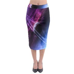 Space Pelanet Saturn Galaxy Midi Pencil Skirt