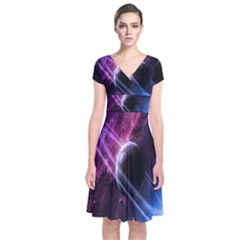 Space Pelanet Saturn Galaxy Short Sleeve Front Wrap Dress