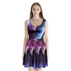 Space Pelanet Saturn Galaxy Split Back Mini Dress